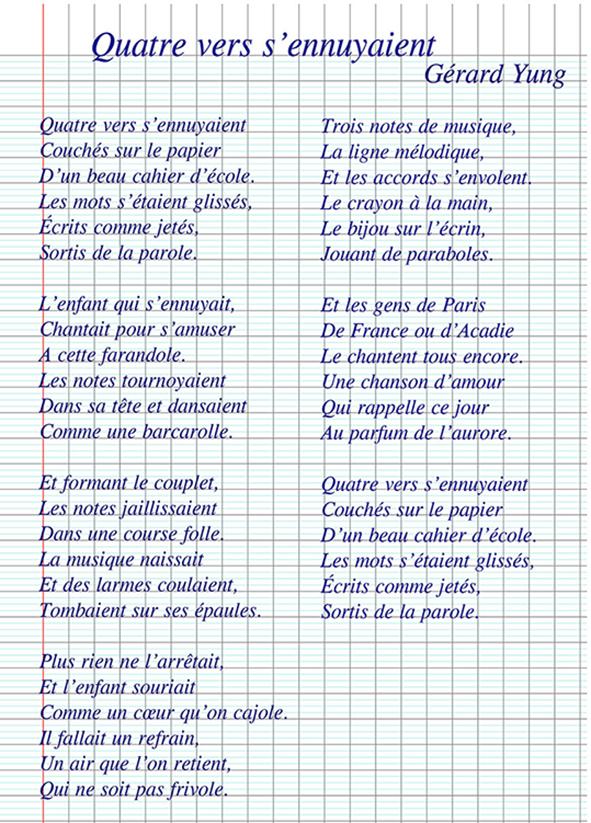 Poèmes Gérard Yung